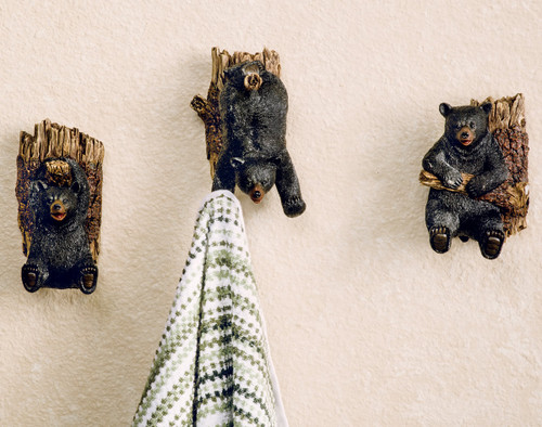 Frolicking Bear on Tree Hooks - Set of 3