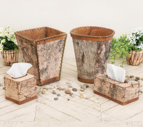 Birch Bark Tissue Boxes & Waste Baskets