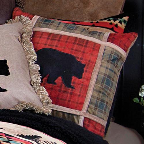 Frontier Bear Plaid Pillow