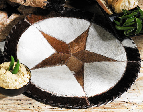 Round Cowhide Placemat - 16 Inch