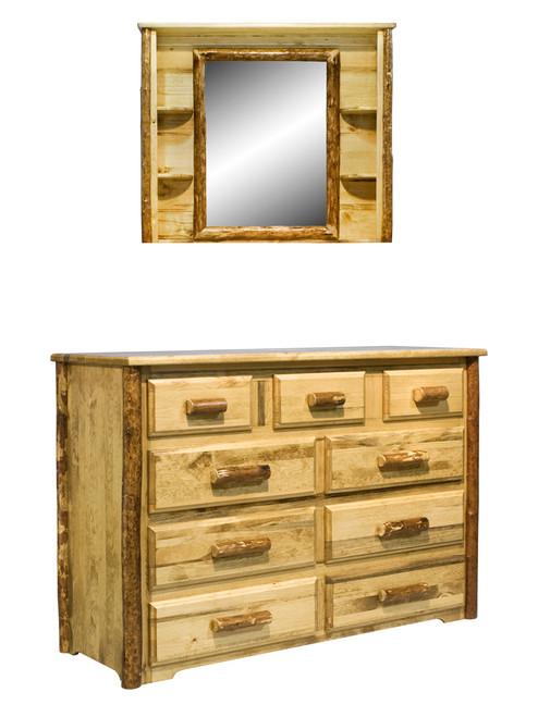 Glacier 9 Drawer Dresser & Deluxe Mirror