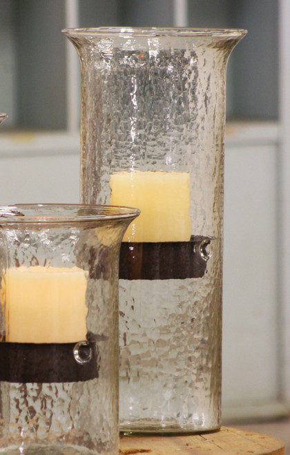 Glass Candle Cylinder with Rustic Insert - Large