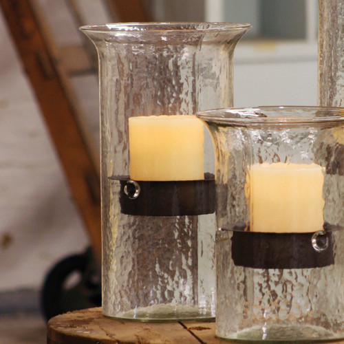 Glass Candle Cylinder with Rustic Insert - Medium
