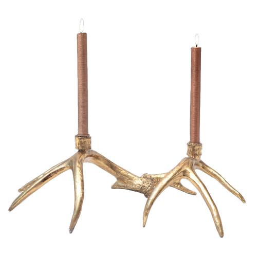 Gold Antler Candlesticks - Set of 2