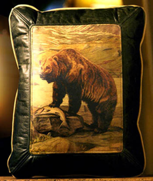 Grizzly Bear Leather Pillow