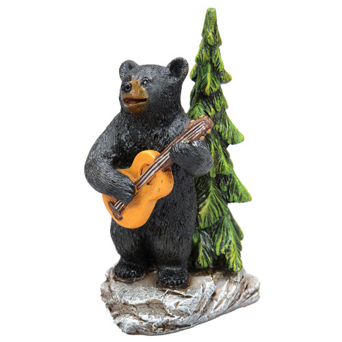 Guitar Black Bear Figurine