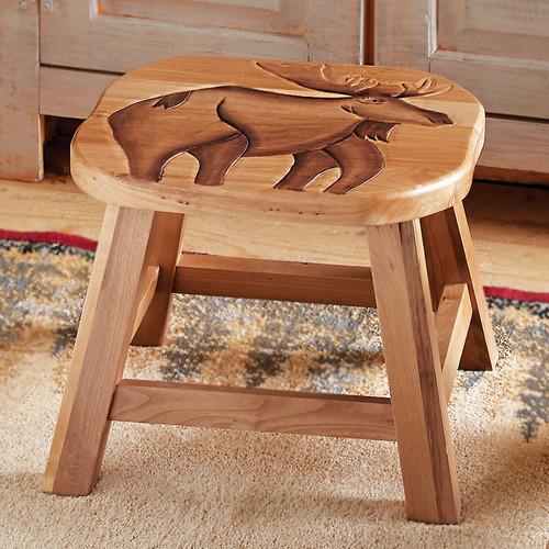 Hand Carved Wood Moose Footstool