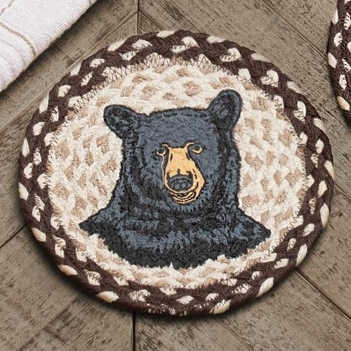 Happy Black Bear Jute Trivet - BACKORDERED UNTIL 12/31/2021