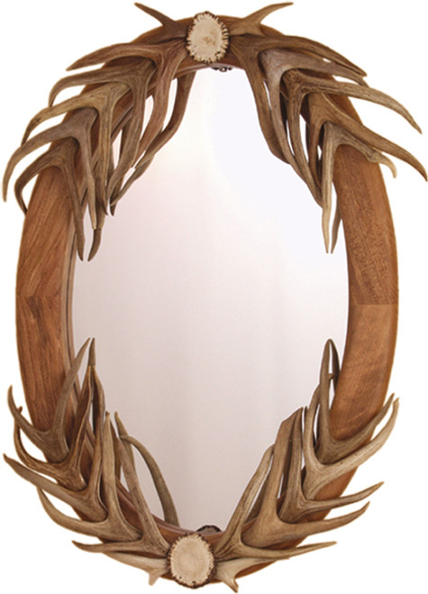 Oval Mirror w/Partial Authentic Deer Antler Cover