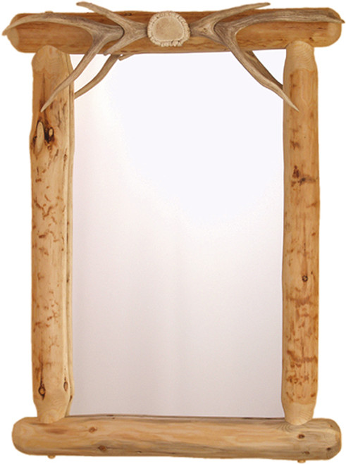 Lodgepole Framed Mirror w/Antler Top (Authentic Antlers)