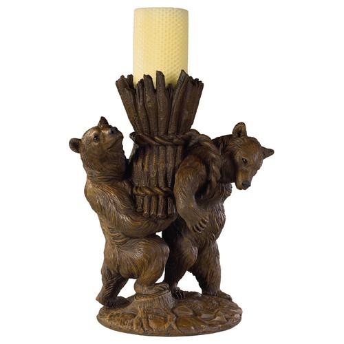 Helping Bears Candleholder - Brushed Wood