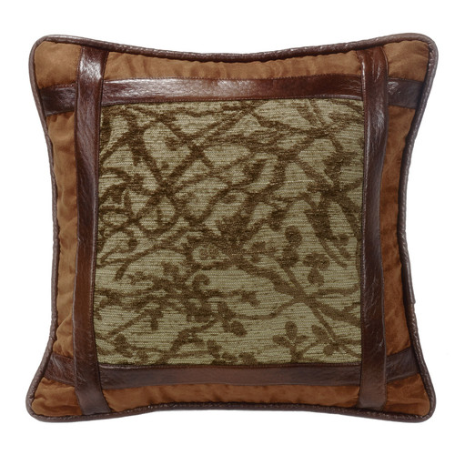 Highland Lodge Framed Tree Pillow with Faux Leather Detail