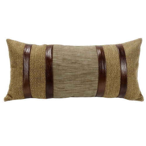 Highland Lodge Herringbone Pillow with Faux Leather Stripes