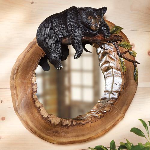 Hollow Log Bear Carved Wood Wall Mirror