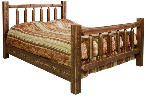 Homestead Queen Log Bed - Stained & Lacquered