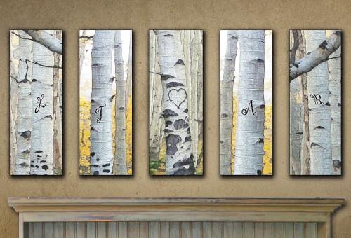 Personalized Aspen Wall Art (Set of 5)