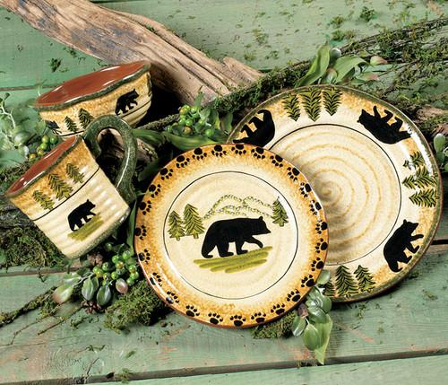 Black Bear Forest Dinnerware Set (16 pcs)