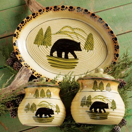 Black Bear Forest Canister Set and Serving Platter