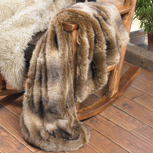 Faux Wolf Fur Throw