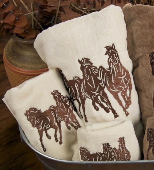 Running Horse Cream Towel Set (3 pcs) - BACKORDERED UNTIL 12/03/2021