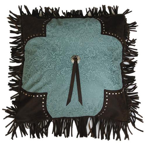 Calhoun Turquoise Fringed Pillow