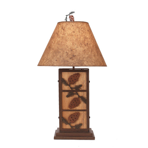 3 Pine Cone Iron/Wood Table Lamp