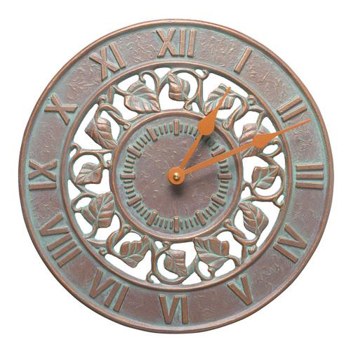 Ivy Indoor/Outdoor Wall Clock - Copper Verdigris