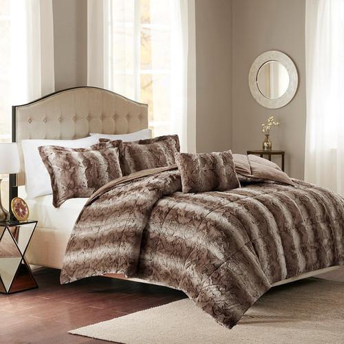 Jackson Chocolate Faux Fur Bed Set - Queen