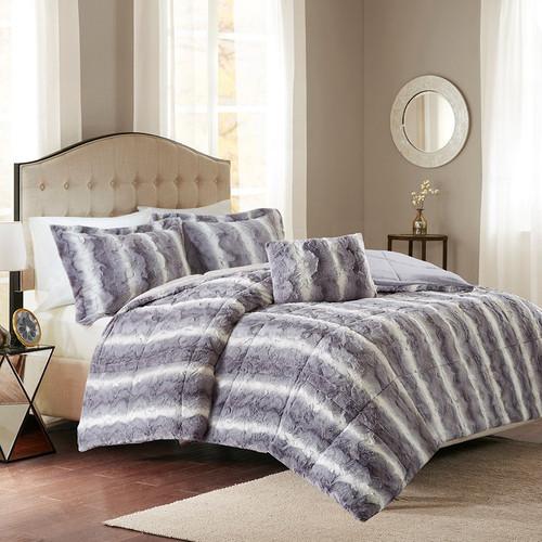 Jackson Gray Faux Fur Bed Set - Queen