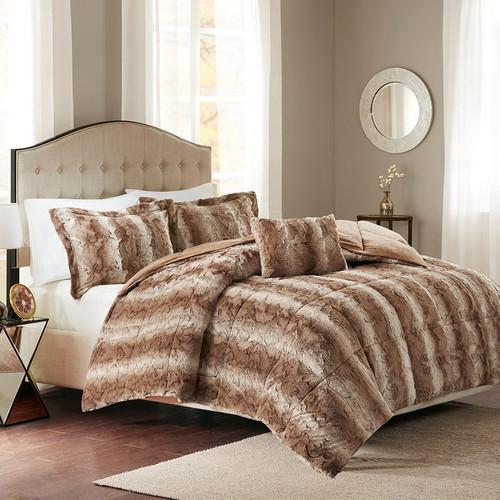 Jackson Tan Faux Fur Bed Set - Queen