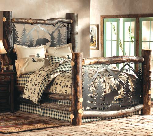 Aspen Log Bed w/ Metal Wildlife Scene - King