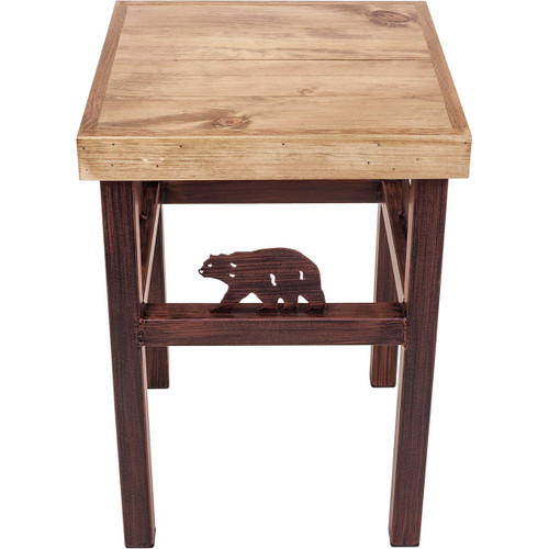 Klamath End Table with Bear Accents