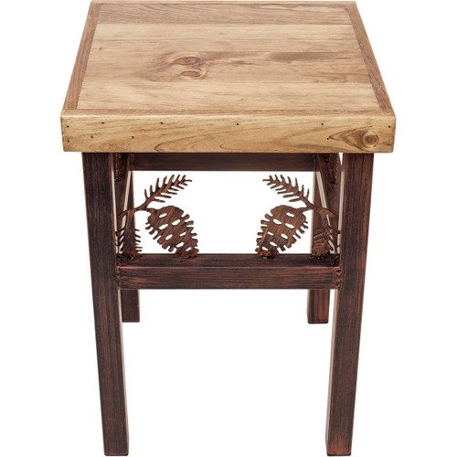 Klamath End Table with Pinecone Accents