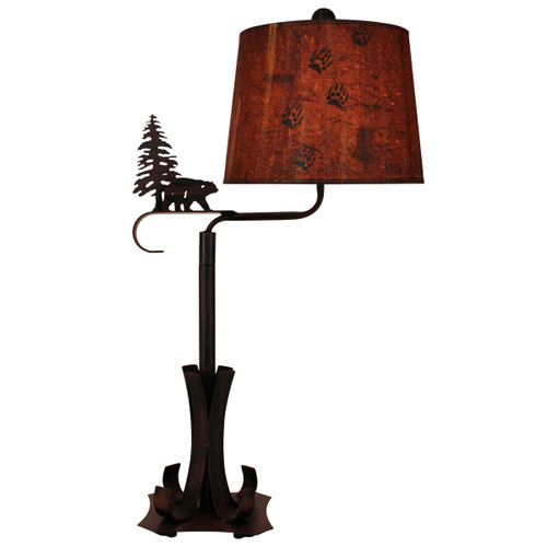 Burnt Sienna Iron Swing Arm Table Lamp with Bear and Pine Tree Accent