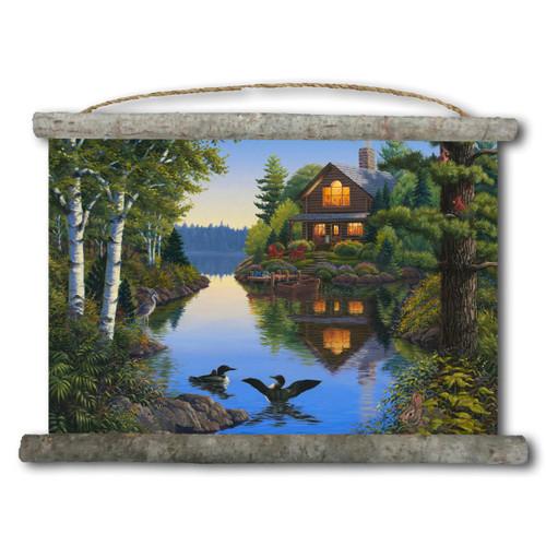 Lake Cabin Canvas Wall Scroll