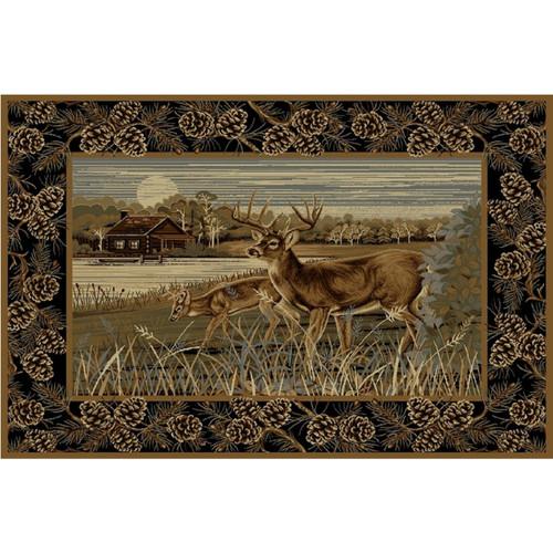 Lake Cabin Deer Rug - 4 x 5