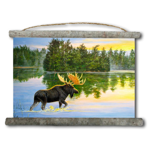 Lake Moose Canvas Wall Scroll
