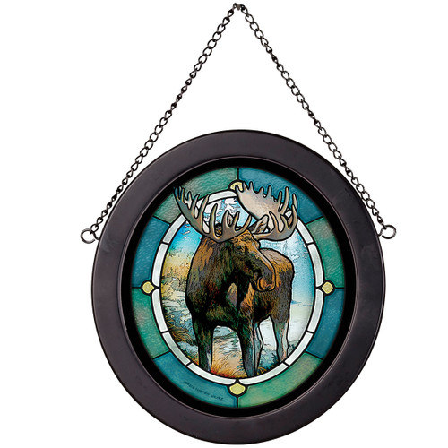Lake Moose Oval Stained Glass Art