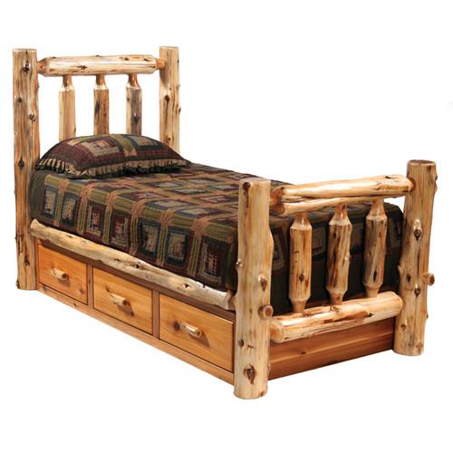Cedar Traditional Log Bed with Underbed 3 Drawer Dresser