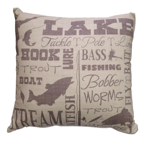 Lake Words Print Accent Pillow