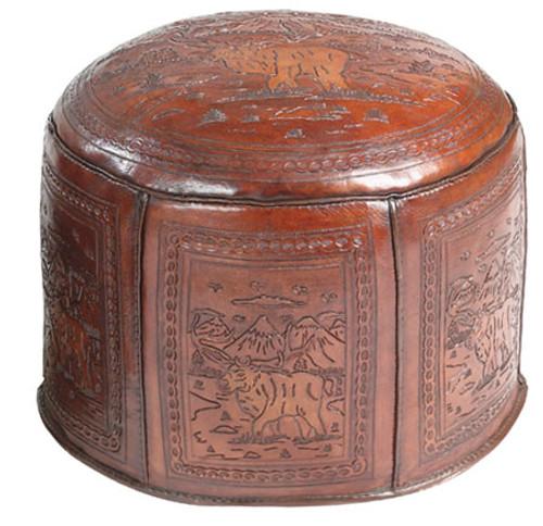 Large Moose Lodge Tooled Leather Ottoman