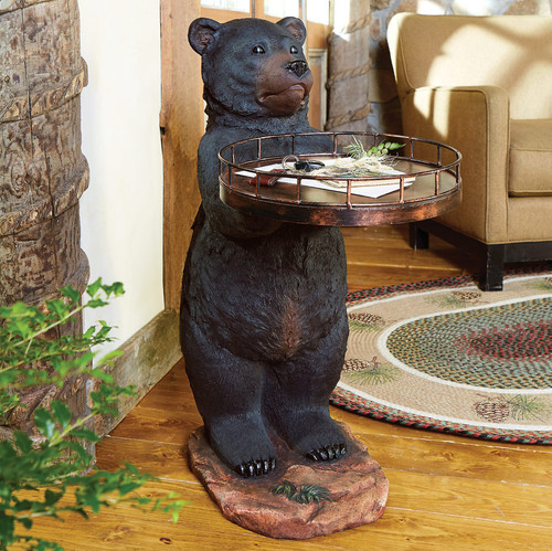 Large Black Bear Holding Tray