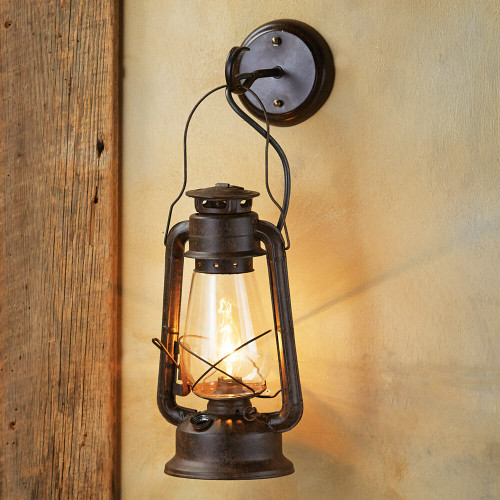 Large Rustic Lantern Wall Sconce