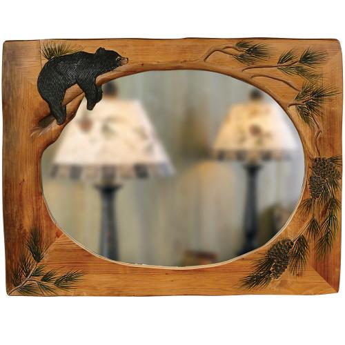 Lazy Bear Carved Wood Mirror