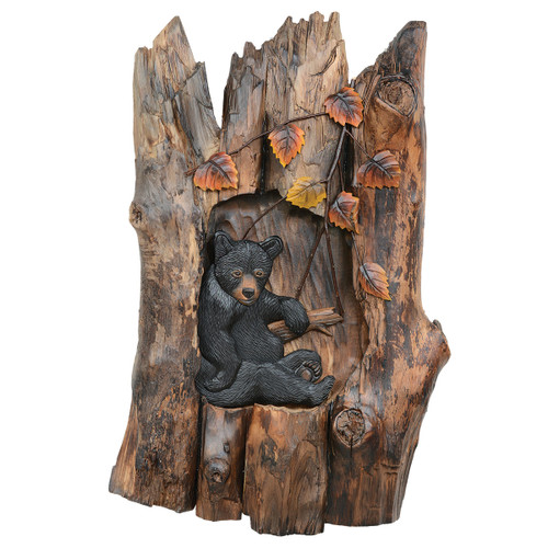 Lazy Bear Carved Wood Wall Art