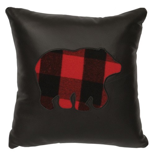 Leather & Plaid Bear Pillow - Fabric Back