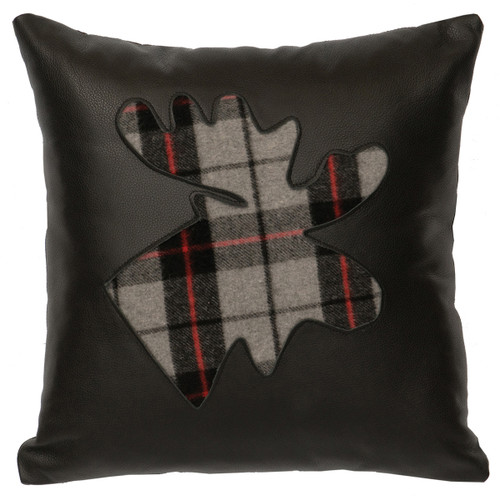 Leather & Plaid Moose Pillow - Leather Back