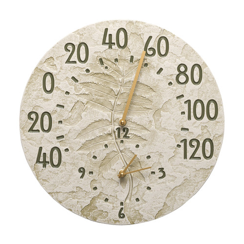 Leaves Indoor/Outdoor Wall Clock & Thermometer - Moss Green