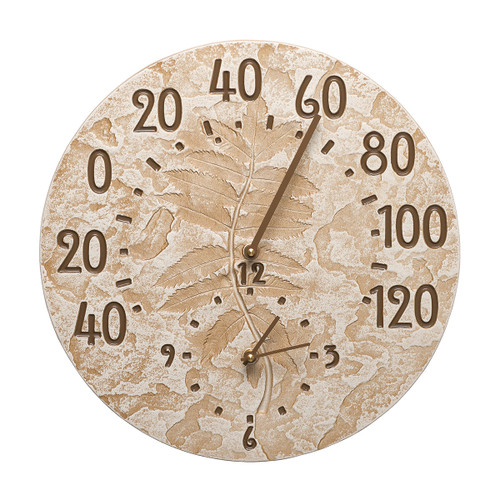 Leaves Indoor/Outdoor Wall Clock & Thermometer - Weathered Limestone