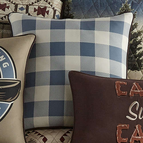 Lodge Blue Check Pillow